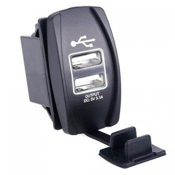 Гнездо USB зарядки прямоугольное - Белая подсветка