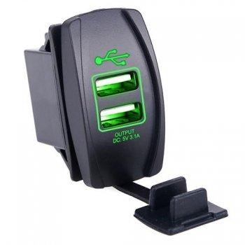 Гнездо USB зарядки прямоугольное - Зеленая подсветка