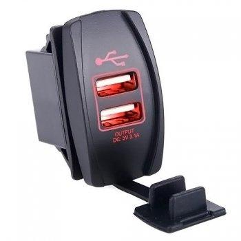Гнездо USB зарядки прямоугольное - Красная подсветка