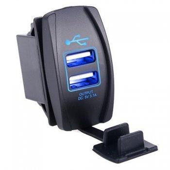 Гнездо USB зарядки прямоугольное - Синяя подсветка